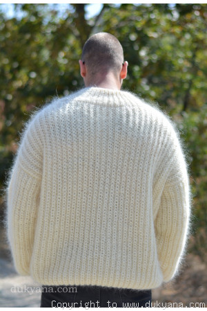 Mens knitted sweater with a funnel neck in cream