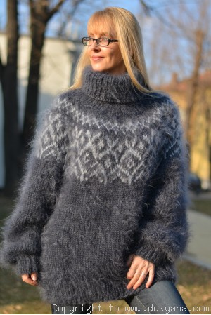 Hand knitted mens Icelandic T-neck mohair sweater