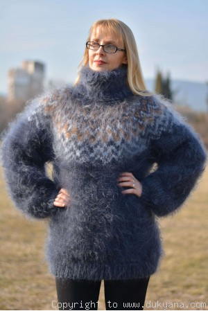 On request Hand knitted Icelandic unisex T-neck mohair sweater