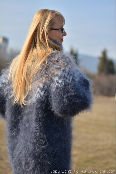 Hand knitted Icelandic unisex T-neck mohair sweater