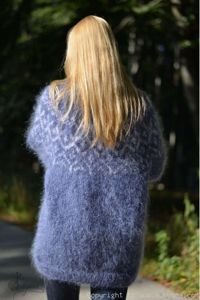 Hand knitted fuzzy Icelandic T-neck mohair sweater in denim blue
