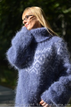 On request Hand knitted fuzzy Icelandic T-neck mohair sweater in denim blue