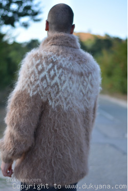 Hand knitted Icelandic T-neck mohair sweater in camel beige