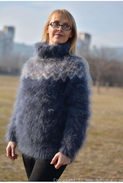 Icelandic fuzzy mohair T-neck sweater