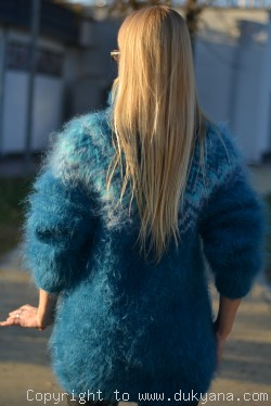 On request Knitted mens mohair sweater Icelandic turtleneck in teal