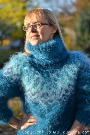 Knitted mens mohair sweater Icelandic turtleneck in teal