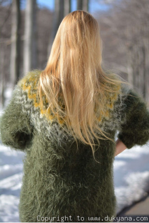 Knitted mens mohair Icelandic Tneck sweater in hunter green