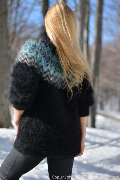 Hand knitted Unisex Icelandic T-neck mohair sweater