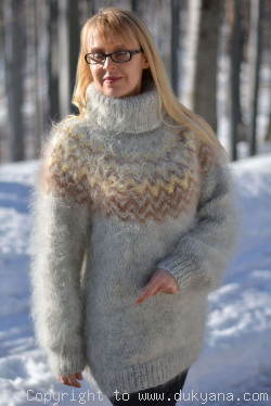 Knitted mens Tneck mohair sweater in earthly shades