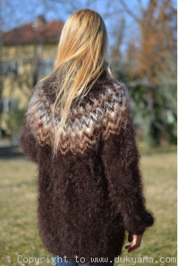 Knitted mens sweater with an Icelandic yoke