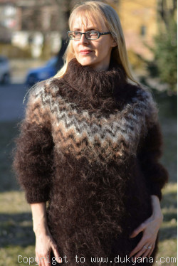 Knitted mens sweater with an Icelandic yoke in chocolate brown