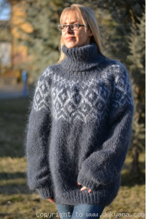 Icelandic T-neck mohair sweater knitted in gray