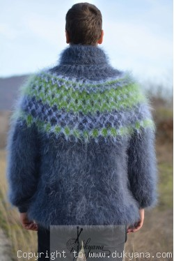 Icelandic T-neck mens mohair sweater in gray