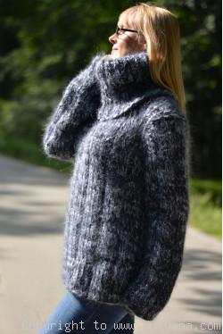 Handmade chunky and soft mohair Tneck sweater unisex