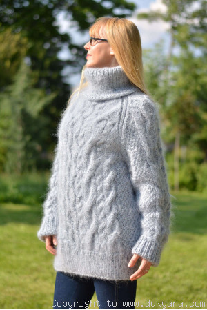 Handmade soft mohair Raglan sleeve Tneck cable sweater mens