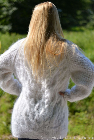 Handmade soft mohair Raglan sleeve Tneck cable sweater mens