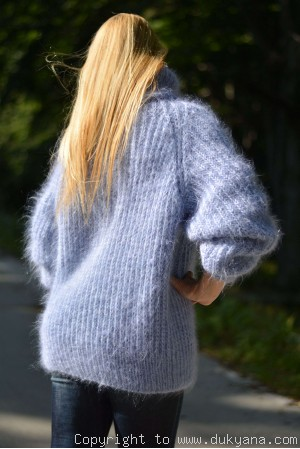 Handmade soft mohair Raglan sleeve Tneck mens cable sweater