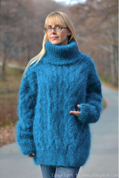 Handmade mohair sweater Raglan sleeve Tneck cabled jumper