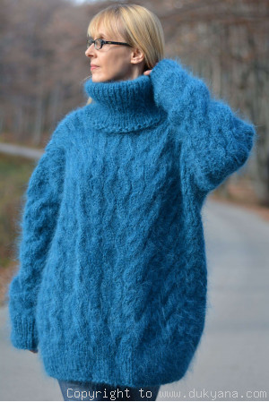 Handmade mohair sweater mens Tneck cabled jumper