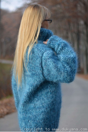 Hand knitted soft and thick mohair mens Tneck sweater in blue