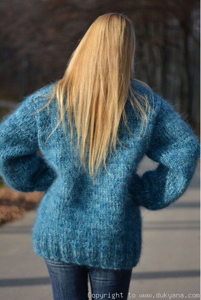 On request Hand knitted soft and thick mohair mens Tneck sweater in blue