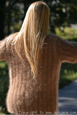 Hand knitted classic cable Tneck mens mohair sweater