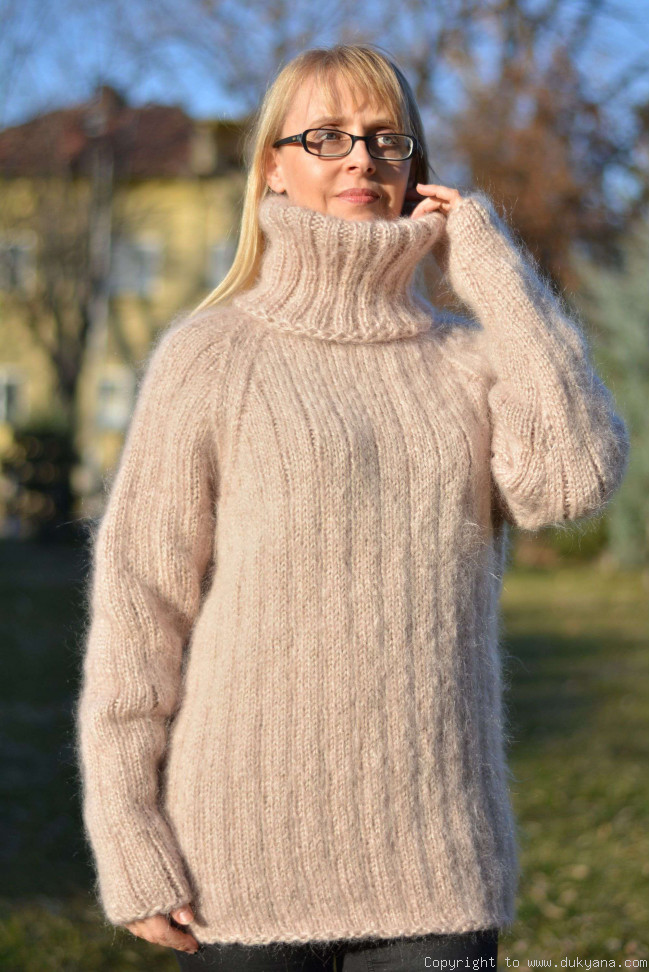 1d6f1b603b1bad Knitted mens mohair sweater hand knitted Tneck pullover/TM52
