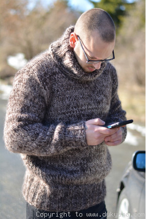 Knitted soft and thick wool and mohair mens Tneck sweater in brown mix