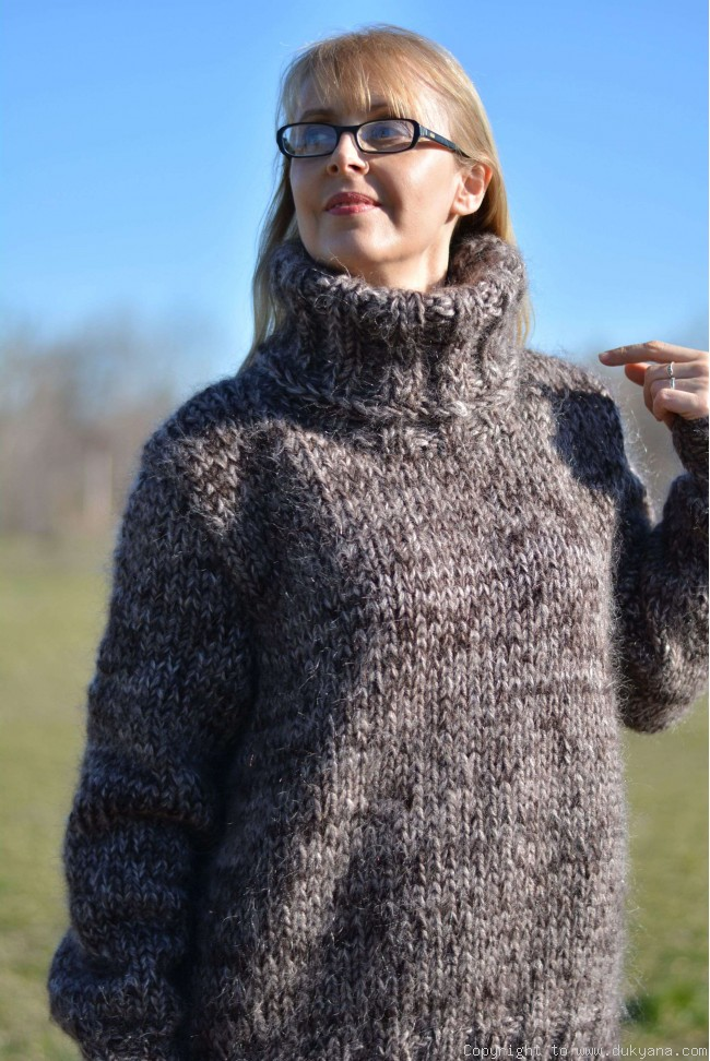9e9dd21ccf8 Knitted soft and thick wool and mohair mens Tneck sweater in brown mix