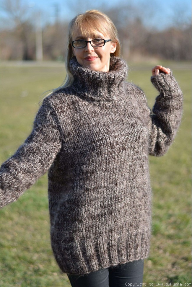 4a9f3e7744a Knitted soft and thick wool and mohair mens Tneck sweater in brown mix