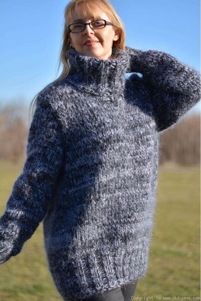 20284efac89 Mens thick mohair sweater in gray mix TM62