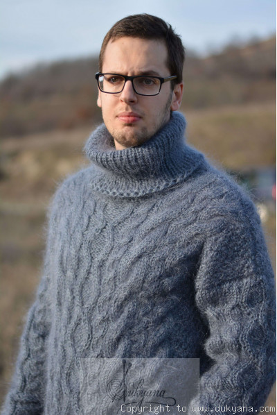 Knitted mens mohair sweater heavy cabled jumper in steel gray