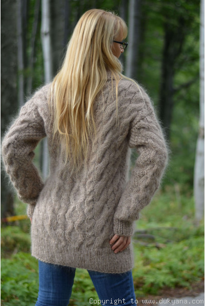 Knitted mens mohair sweater heavy cabled jumper in taupe beige