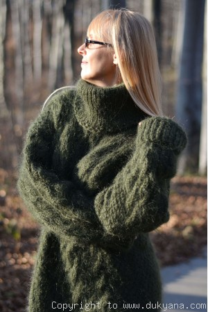 Handmade soft mohair Tneck cable  mens sweater in hunter green