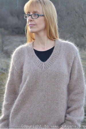 V-neck mens mohair sweater hand knitted
