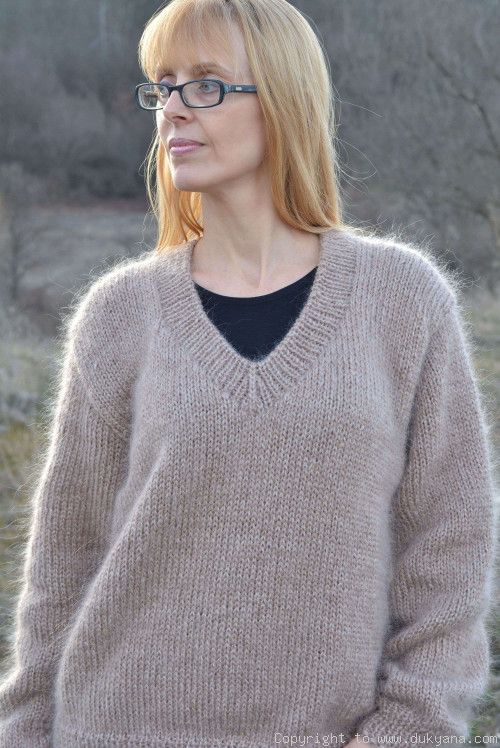 On request V-neck mens mohair sweater hand knitted