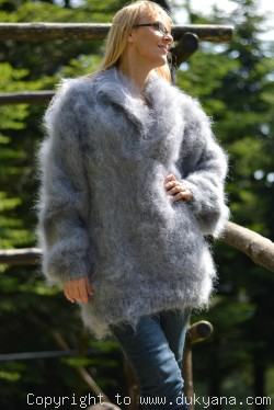 Fuzzy V-neck mens mohair shawl collar sweater hand knitted