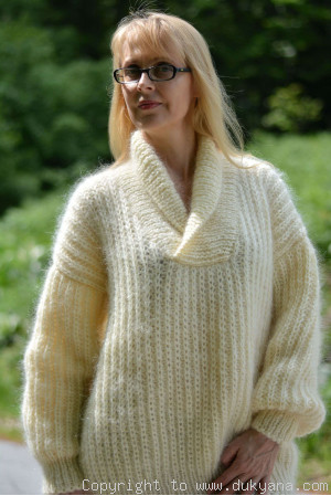 V-neck mens mohair shawl collar sweater hand knitted