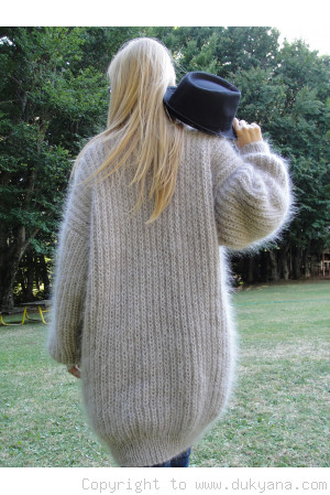 On request Fuzzy V-neck mens mohair shawl collar sweater hand knitted