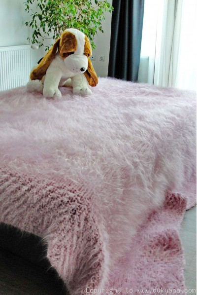 Hand knitted chunky mohair blanket