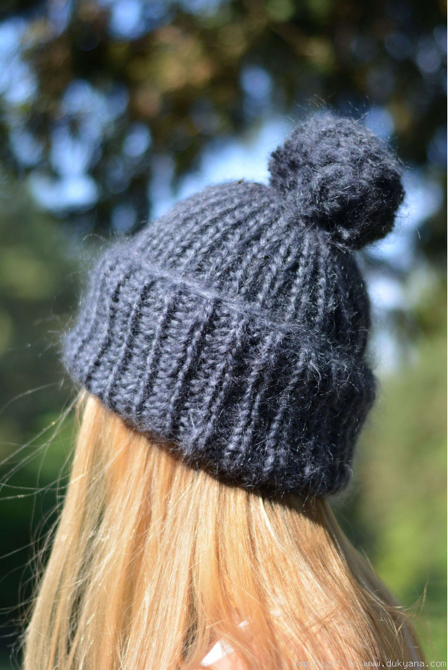 Warm Winter Ski Hat With Pompon Knitted In Navy Blueht6