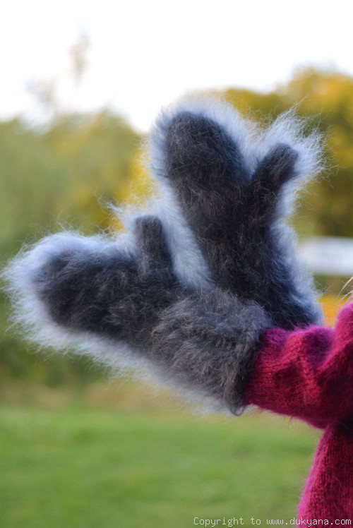 Fuzzy and thick chunky mohair mittens in steel gray