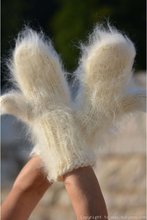 Fuzzy and thick chunky mohair mittens made on request