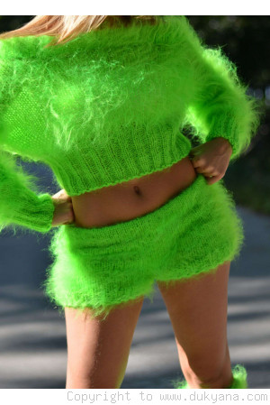 Fuzzy mohair pants with a low rise