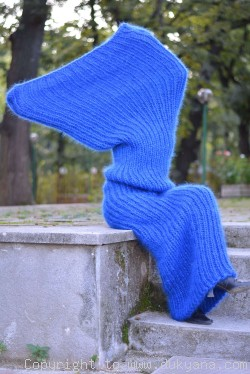 Chunky mohair tube scarf in blue