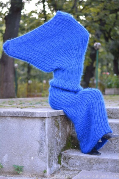 On request Chunky mohair tube scarf in blue