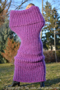 Chunky mohair tube scarf in purple mix