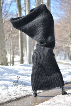 Custom Order for Chunky mohair tube scarf in black 2m long