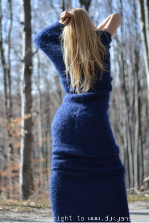 Huge mohair tube scarf in navy blue
