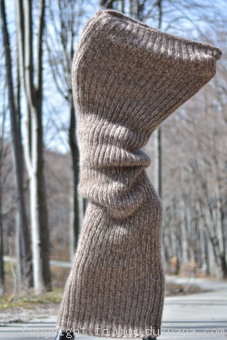 Chunky mohair tube scarf in beige mix